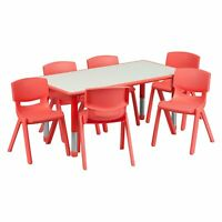 Table for Kids Chairs Set Activity Adjustable Daycare Preschool Red Green Blue