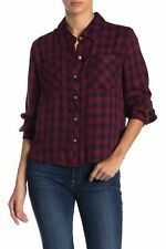 New $120 C & C Womens Red Blue Plaid Button-Down Long-Sleeve Casual Shirt Size M