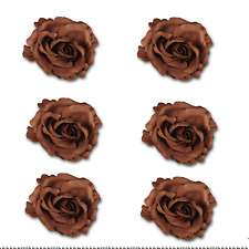 Craft Flowers - Qty 6 Large Open Rose on Pin Brown Vogue Series