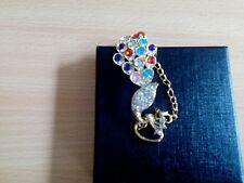Fashion Colorful Rhinestone Crystal Peacock Bracelet Women Bangle Jewelry Gift