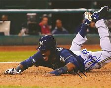 HECTOR GOMEZ MILWAUKEE BREWERS AUTOGRAPHED SIGNED SLIDING 8X10 PHOTO W/COA