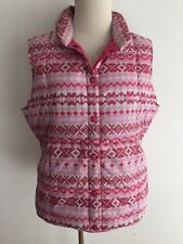 Lands' End Sleeveless Down Puffer Vest Red Pink White Cross Stitch Print M/10-12