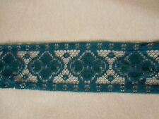 """2.5"""" Flat Lace Trim Teal Green 13 yards New"""