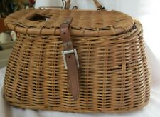 Vintage wicker fishing Creel Basket C Trout Leather/Canvas strap