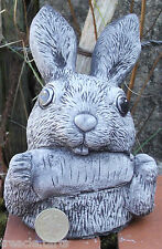 Stone Garden Ornament Bunny Rabbit with Carrot  Hand Cast 8x10x14 cms 682 g