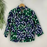 Chico's Womens Jacket on The Record Nannie 3/4 Pattern Ink Aztec Size 1 M NWT