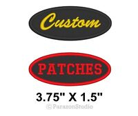 "Custom Embroidered Name Tag Oval Patch Motorcycle Biker Badge 3.75"" X 1.5"""