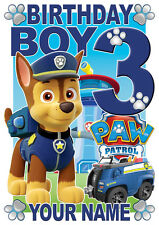 Paw Patrol Birthday Boy Chase Personalised Boys Girls T Shirt Age 3 Gift Present