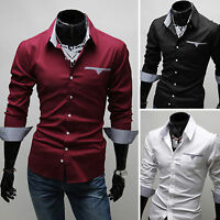 Mens Formal Blouse Long Sleeve Slim Fit Business Dress Shirts Casual Tops Tee