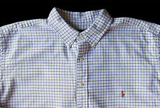 Men's RALPH LAUREN White Blue Plaid Oxford Shirt 4XLT 4LT TALL NWT NEW Classic!