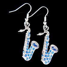 w Swarovski Crystal ~Royal Blue SAXOPHONE~ Music musical instrument Earrings New