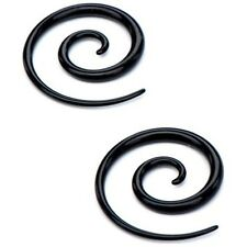 05mm/4 Gauge Body Jewelry Pair-Tapers Spiral Black Acrylic