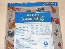 GILDAN SMART BASICS BOYS THERMAL TOP GRAY ACTIVE PRINT L SLEEVE SIZE LARGE 12-14