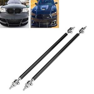 2pc Carbon Fiber Car Front Bumper Lip Splitter Spoiler Rod Support Strut Tie Bar