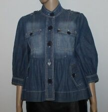 Blue Denim OASIS Button 2/3 Sleeve Fitted Hip Length Blouse Top Blazer Sz 14 /40