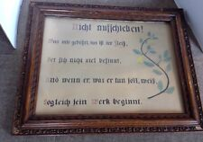 ANTIQUE GERMAN HAND PAINTED MOTTO DONT PUT OFF UNTIL TOMORROW...