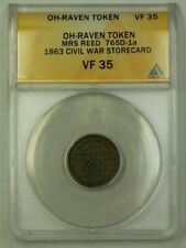 Oh-Raven Token Mrs. Reed 765D-1a 1863 Civil War Storecard Anacs Vf-35