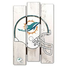 """MIAMI DOLPHINS FENCE WOOD SIGN 11""""X17'' BRAND NEW FREE SHIPPING WINCRAFT"""