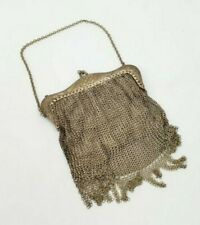 Antique Silver Metallic Toned Chain Mail Evening Purse Wallet Modele Depose