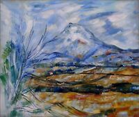 Paul Cezanne Montagne Sainte-Victoire Repro, Hand Painted Oil Painting 20x24in