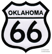 OKLAHOMA ROUTE 66 EMBROIDERED PATCH - IRON-ON APPLIQUE Highway Road Sign Biker