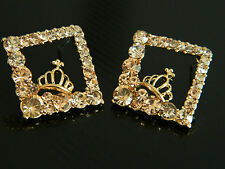 Gold Plated Light Blush Pink Crystals Rhombus Crown Cross Studs Earrings E154