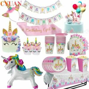 Unicorn Party Tableware Set Paper Cup Napkins Banner Cake Topper Wedding Baby Sh