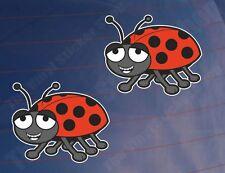 2x CARTOON LADYBIRD/BUG Car/Van/Window/Bumper/Laptop/Bedroom Printed Stickers