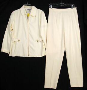 Vintage 90s Profiles Ivory 2-Piece Suit Set M/L Zip Jacket Tapered Pants NWT NOS