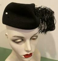 Hat Vtg Pillbox Black Wool Felt Ostrich Feather Pearl Hatpin Made USA 1940's EXC