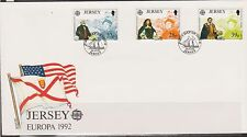 GB - JERSEY 1992 Discovery of America by Columbus/Europa 92' SG 584/86 FDC FLAGS