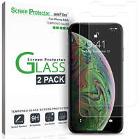 iPhone XS/X amFilm Tempered Glass Screen Protector w/ Installation Tray (2 Pack)