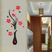 DIY Removable Art Mural Home Room Decor Flower Decal Best 3D Wall Mirror Q8M4