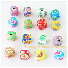 10Pcs Mixed Polymer Fimo Clay Square Cube Spacer Beads Charms 10mm