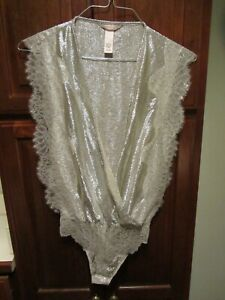 Victoria's Secret SIZE XS Bodysuit Lingerie Shiny Silver Metallic Plunge Thong