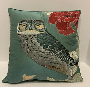 Tracy Porter DECORATOR PILLOW Feather EMBROIDERED Poetic Wanderlust Owl Emmeline