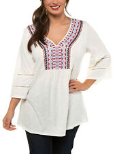 Ulla Popken tunic top t-shirt plus size 24/26 Ivory embroidery bell sleeve