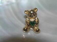 w Green Rhinestone Birthstone Heart Tie Estate Avon Signed Goldtone Teddy Bear