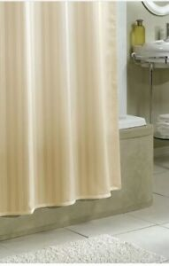 Croscil  Fabric Shower Liner CurtIn Ivory Stripe 70x73 Water Repellent Weighted