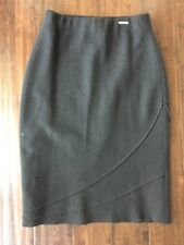 Geiger Collection Pure Wool Black Long Straight Pencil Skirt US 8 Euro 38