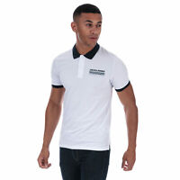 Mens Jack & Jones Town Polo Shirt In White- Short Sleeve- Contrast Rib Collar