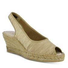 Spring Step Azura Jeanette Wedge Sandals Beige Satin