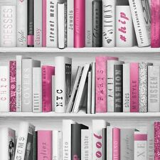 PINK FASHION LIBRARY BOOKCASE WALLPAPER ROLLS - MURIVA 139501 GLITTER BOOKS NEW