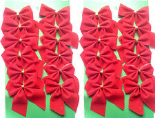 Christmas Tree Bow Tie Decorations pack of 12 , 24  Red Silver Gold Uk Stock