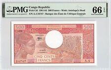 Congo Republic 1982 P-2d PMG Gem UNC 66 EPQ 500 Francs