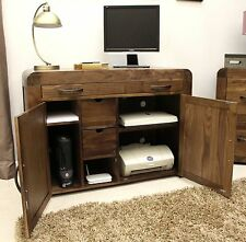 Shiro desk hidden home office hideaway computer solid walnut dark wood furniture