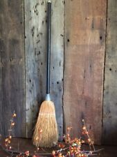 """Antique Fireplace or Witch's Broom BLACK Wood Handle 28"""" Thick Reeds Halloween"""