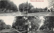 D42/ Bourbon Indiana In Postcard 1914 4View Main Street Homes