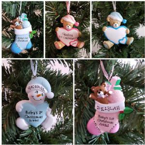 Personalised Christmas Baby 1st Christmas Tree Decoration Bear Snowman Stocking
