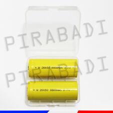 2 PILES ACCUS RECHARGEABLE 26650 8800mAh 3.7V Li-ion + BOITE DE RANGEMENT